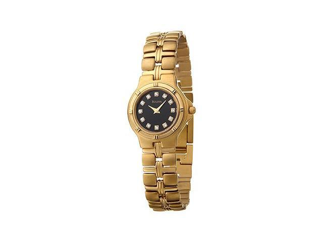 Bulova 97S72 Diamonds Black Dial Stainless Steel Gold Plated Women's Watch