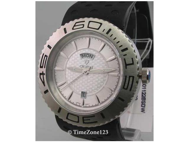 Mens Croton Rubber Day Date Watch CA301122BSDW