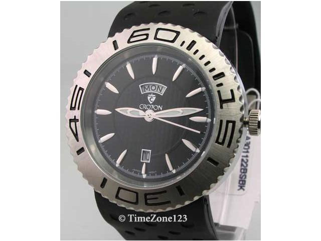 Mens Croton Rubber Day Date Watch CA301122BSBK