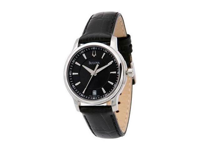 Womens Bulova Black Leather Strap Black Dial Watch 63M101