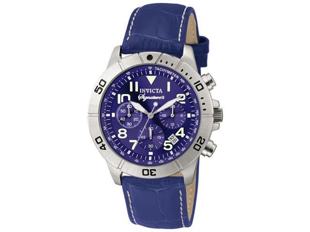 Invicta Signature II Chronograph Blue Leather Mens Watch 7282
