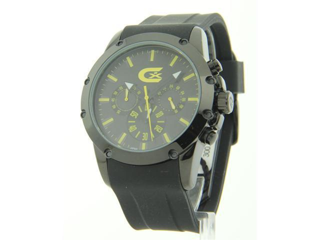 Mens Croton Rubber Chronograph Yellow Markers Watch CX328023BKYL