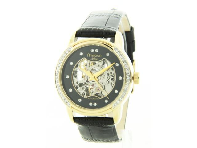 Womens Armitron Leather Automatic Crystal Watch 75-3722BKGPBK