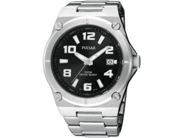 Mens Pulsar Stainless Steel Black Dial Date 10ATM Casual Watch PXH661
