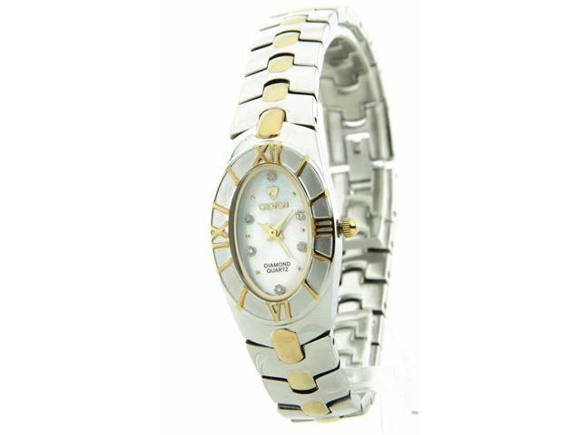Croton Womens Two-Tone Brass MOP Diamond Dress Watch CN207367TTMP