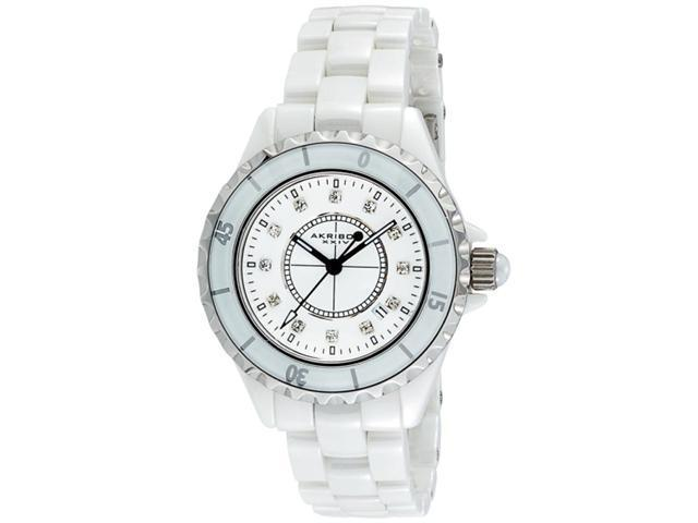 Akribos XXIV Women's AKR485WT Allura White Ceramic Date Dress Watch