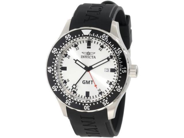 Invicta Men's 11254 Specialty GMT Silver Dial Black Polyurethane Date Watch