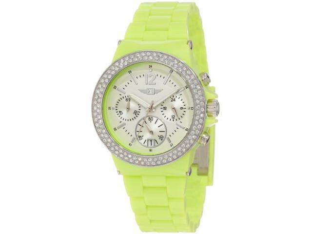 Invicta Women's Green Plastic Chronograph Silver Dial Date Watch 43944-004