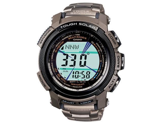 Casio Mens Pathfinder Slim Digital Watch with Titanium Bracelet PAW2000T-7