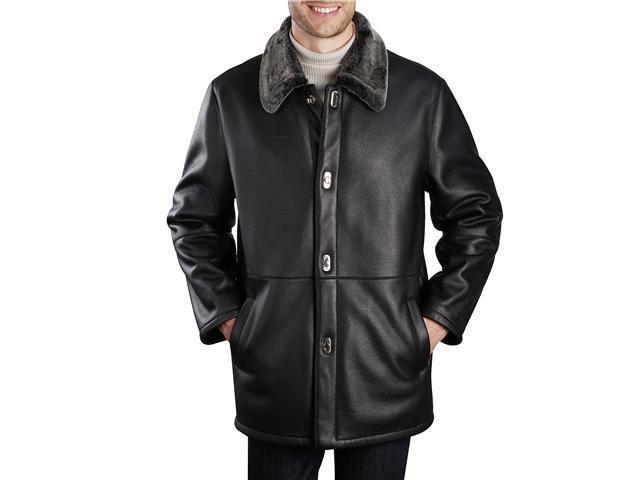 BGSD Men's Faux Shearling Walking Coat in Black