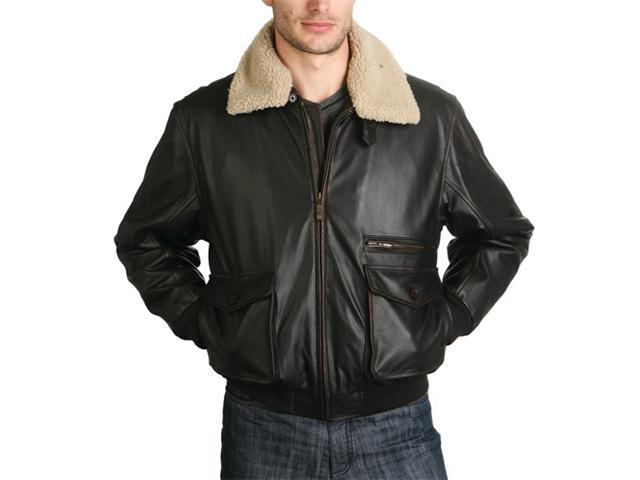 BGSD Men's Aviator Leather Bomber Jacket - Regular, Tall, Big, Big & Tall