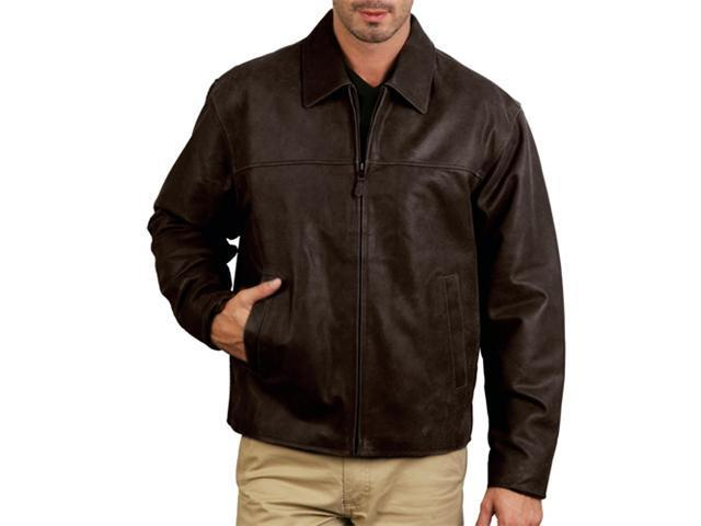 Men's Open-Bottom Leather Bomber Jacket - Brown Stone Medium