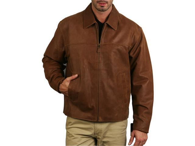 Men's Open-Bottom Leather Bomber Jacket