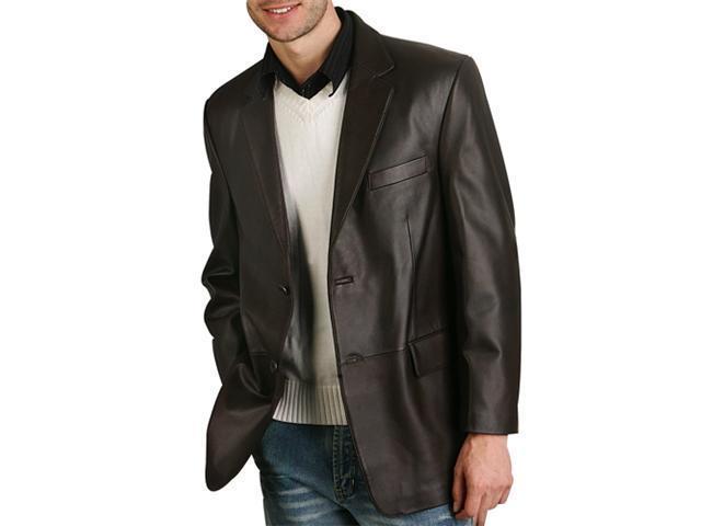 BGSD Men's Classic Two-Button Lambskin Leather Blazer