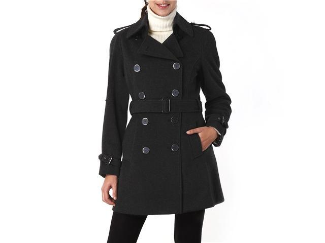Phistic Women's Cashmere Blend Belted Trench Coat in Black or Dark Gray