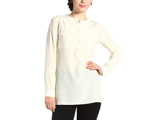 Sandals Cay Women's 'Penny' Silk Rolled Sleeve Shirt - Cream 8