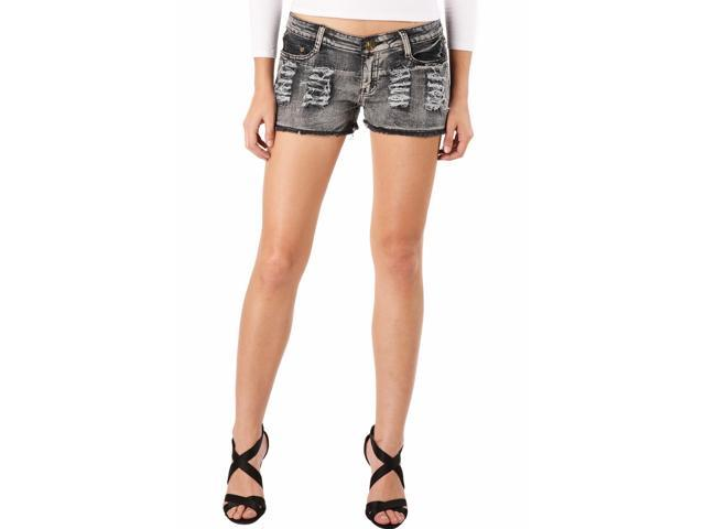 Jessie G. Women's Low Rise Destructed Denim Short Shorts - 8