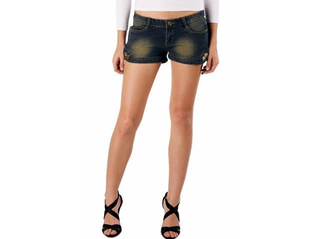 Jessie G. Women's Low Rise Distressed Denim Short Shorts with Decorated Buttons - 12