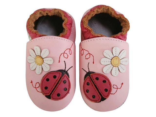 Momo Baby Infant/Toddler Soft Sole Leather Shoes - Ladybug Pink