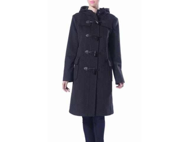 Phistic Women's 'Cindy' Cashmere Blend Toggle Duffle Coat - Dark Gray L