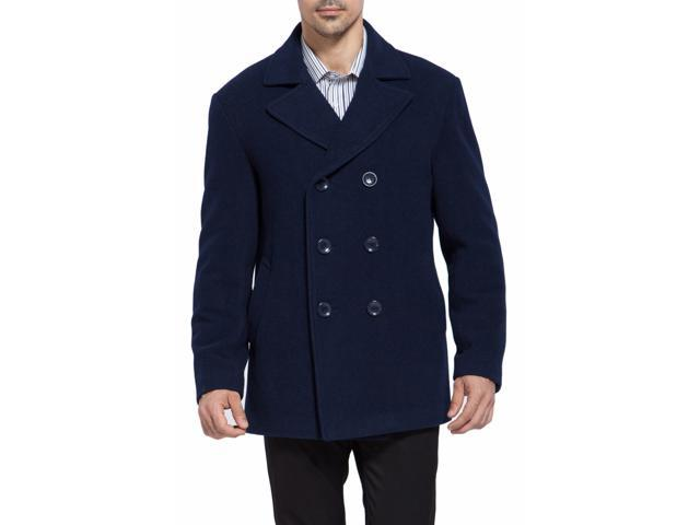 BGSD Men's Classic Wool Blend Pea Coat - Navy
