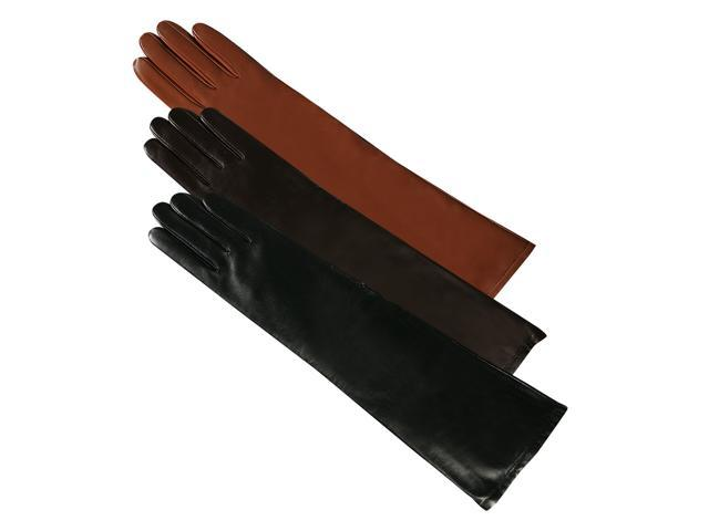 Luxury Lane Women's Cashmere Lined Lambskin Leather Long Gloves - Chocolate Small