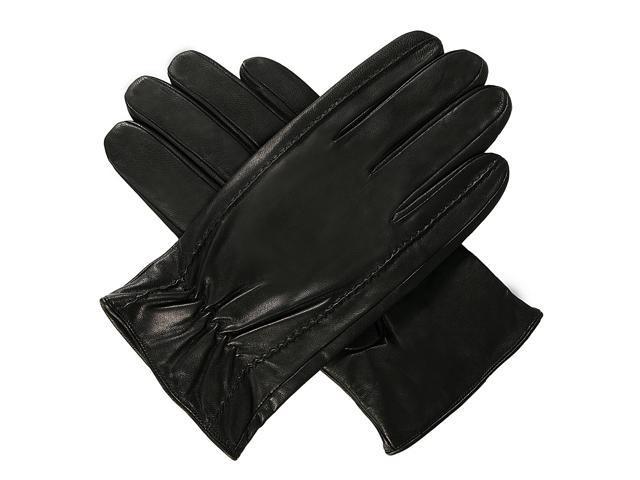 Luxury Lane Men's Cashmere Lined Lambskin Leather Gloves - Black S