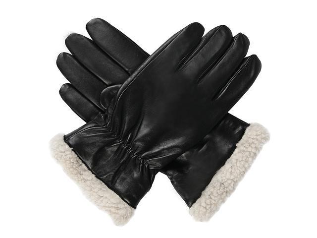 Luxury Lane Men's Pilot Microfleece Lined Lambskin Leather Gloves - Black Medium