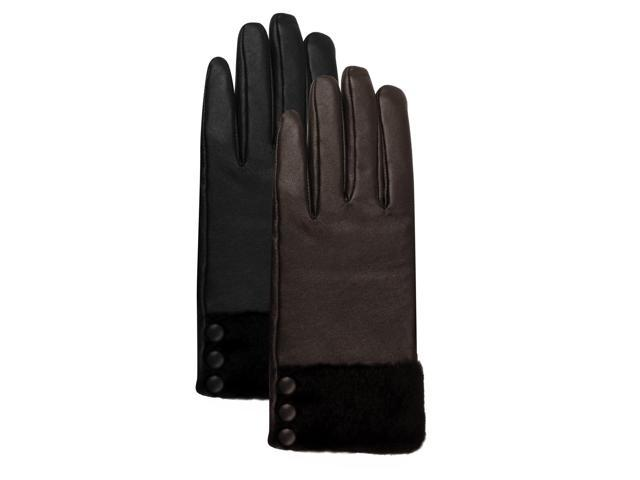 Luxury Lane Women's Fur & Button Trim Cashmere Lined Lambskin Leather Gloves - Black Medium