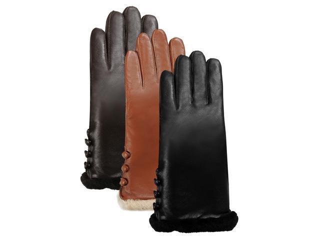 Luxury Lane Women's Shearling Fur Trim Cashmere Lined Lambskin Leather Gloves - Chocolate L