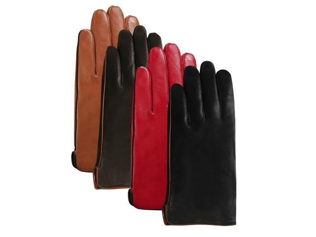 Luxury Lane Women's Contrast Piping Cashmere Lined Lambskin Leather Gloves - Chocolate - Size M