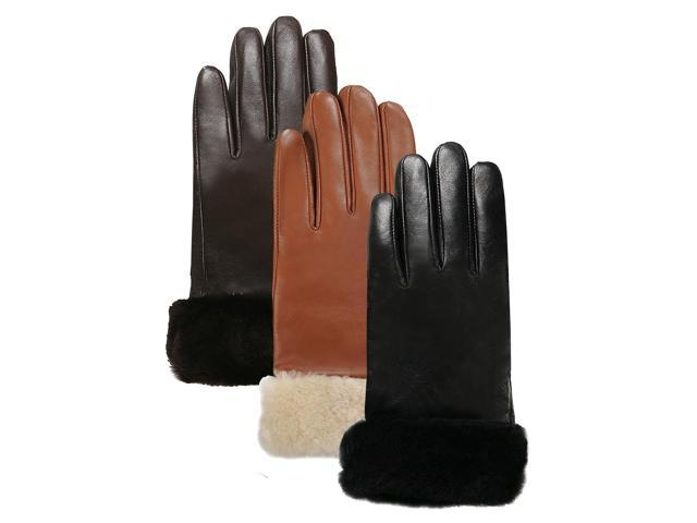 Luxury Lane Women's Shearling Fur Trim Cashmere Lined Lambskin Leather Gloves - Tobacco S