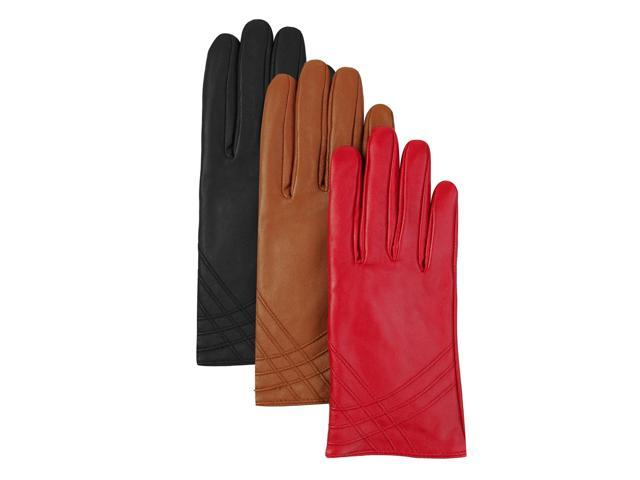 Luxury Lane Women's Cashmere Lined Lambskin Leather Gloves - Tobacco Small