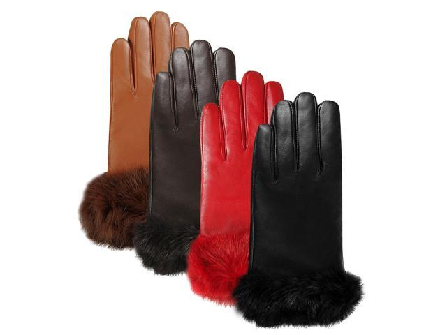 Luxury Lane Women's Rabbit Fur Cuff Cashmere Lined Lambskin Leather Gloves - Tobacco Small