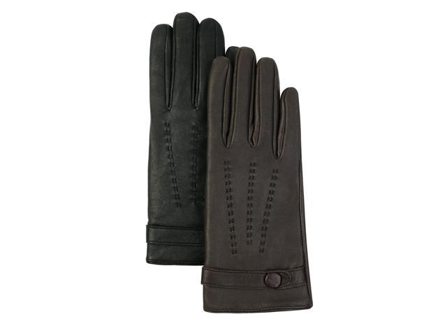 Luxury Lane Women's Cashmere Lined Lambskin Leather Driving Gloves in Black or Chocolate