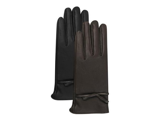 Luxury Lane Women's Cashmere Lined Lambskin Leather Gloves with Bow - Black Large