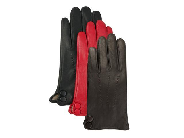 Luxury Lane Women's Cashmere Lined Lambskin Leather Gloves with Buttons - Red Medium