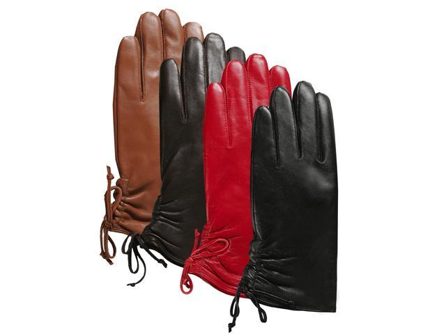 Luxury Lane Women's Lambskin Leather Ruched Tie Gloves - Tobacco S