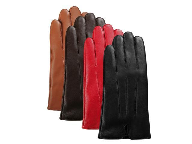 Luxury Lane Women's Cashmere Lined Lambskin Leather Gloves - Chocolate Small
