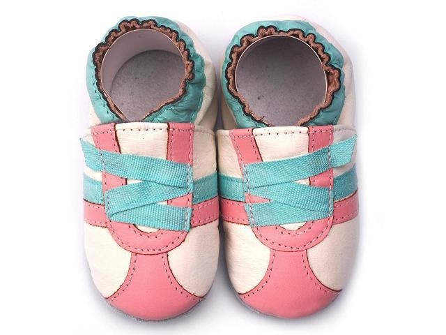 Momo Baby Infant/Toddler Soft Sole Leather Shoes - Z-Strap Sneaker Pink