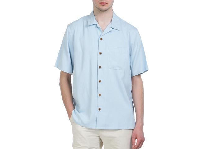 Sandals Cay Men's Small Checkered Pattern Silk Camp Shirt - Sky Blue L