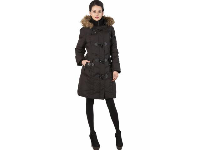 BGSD Women's Quilted Down Toggle Coat with Faux Fur Trim - Black XL