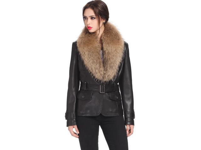 BGSD Women's New Zealand Lambskin Leather Jacket with Raccoon Fur Trim