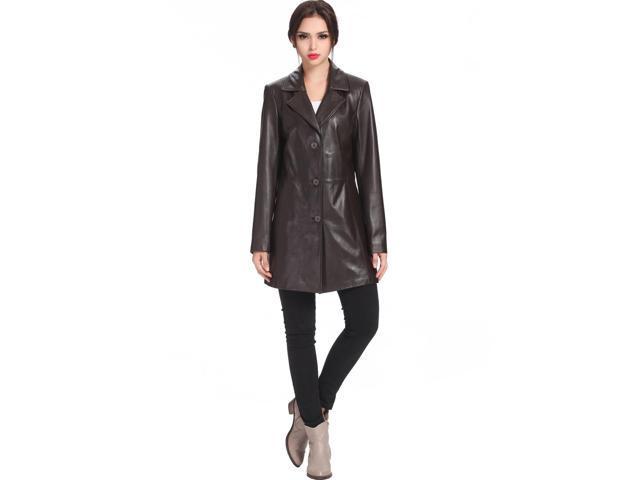 BGSD Women's New Zealand Lambskin Leather Walking Coat - Brown M