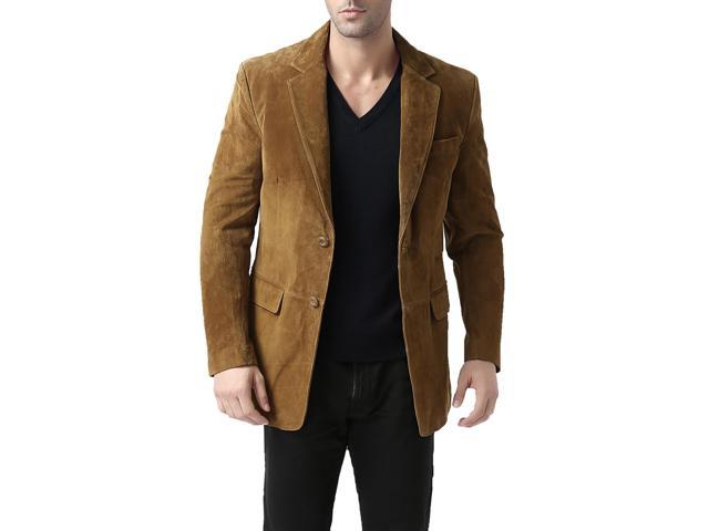 BGSD Men's Classic Two-Button Suede Leather Blazer - Tobacco XL