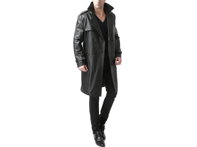 "BGSD Men's ""Xander"" Classic Leather Long Trench Coat"