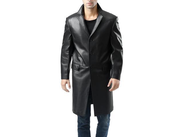 BGSD Men's New Zealand Lambskin Leather Walking Long Coat - Black M
