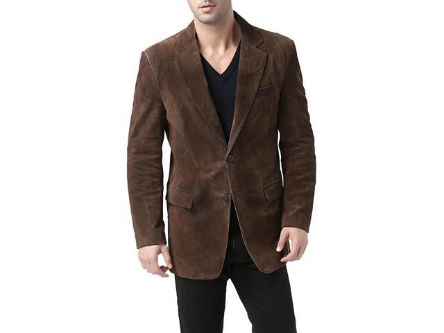 BGSD Men's Classic Two-Button Suede Leather Blazer - Brown XL