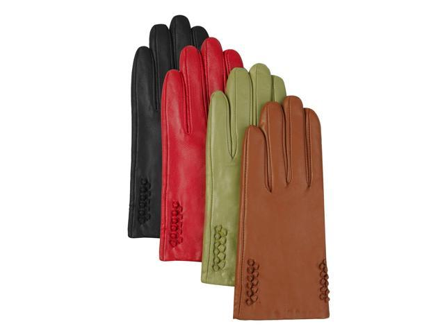 Luxury Lane Women's Cashmere Lined Embroidered Cuff Lambskin Leather Gloves - Red Large