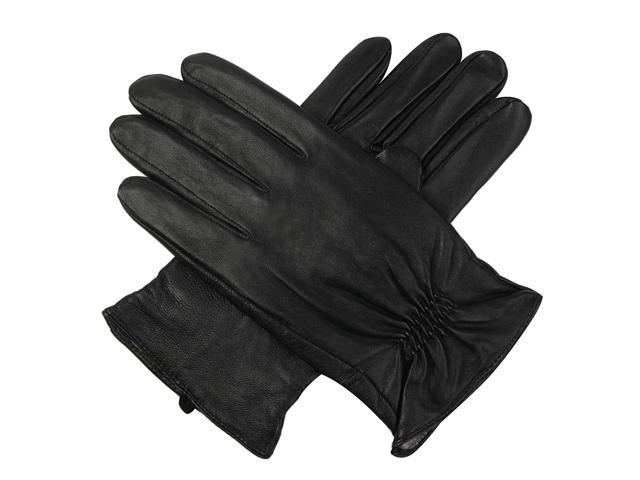 Luxury Lane Men's Cashmere Lined Lambskin Leather Gloves - Black - Size S